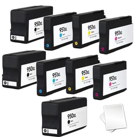 950XL/951XL 2 Full set + 1 EXTRA Black Remanufactured Inks (Free Paper)