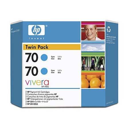 HP 70 (CB343A) Original Cyan Ink Cartridge (Twin Pack)