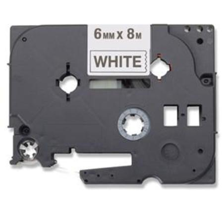 Compatible Black Brother TZe-211 P-Touch Label Tape - 1/4in x 26ft (6mm x 8m) Black on White
