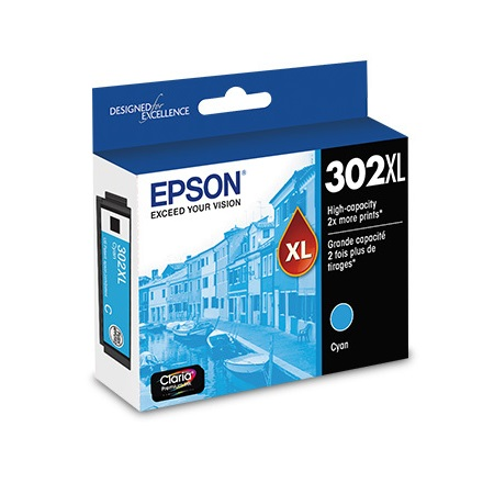 Epson 302XL (T302XL220-S) Cyan Original High Capacity Ink Cartridge