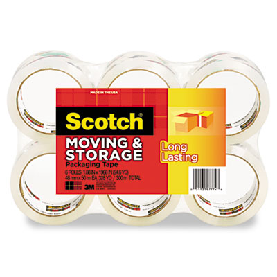 Scotch Mailing & Storage Tape 1.88 inch x 54.6 yards 3 inch Core Clear 6 Rolls/Pack