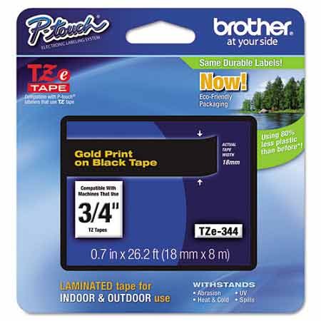 Brother TZe344 Original P-Touch Label Tape - 3/4 x 26.2 ft (18mm x 8m) Gold on Black