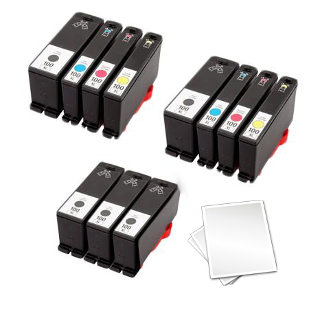 100XL 2 Full Sets + 3 EXTRA Black Remanufactured Ink (Free Paper)