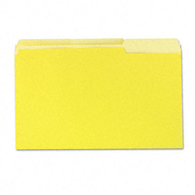 Colored File Folders 1/3 Cut One-Ply Top Tab Legal Yellow/Lt Yellow 100/Box