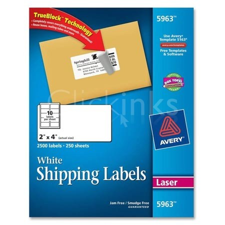 Shipping Labels with TrueBlock Technology  2 x 4  White  2500/Box