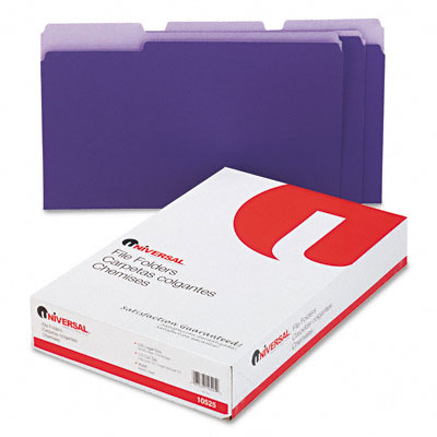 Colored File Folders 1/3 Cut One-Ply Top Tab Legal Violet/Lt Violet 100/Box