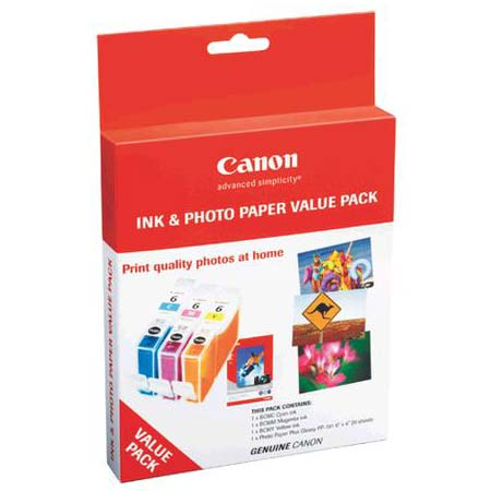Canon BCI-6 C/M/Y/K and Photo Paper Value Pack - 50 Sheets