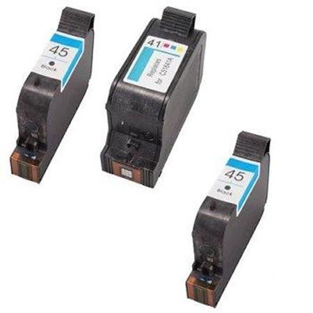 45/41 Full Set + 1 EXTRA Black Remanufactured Inks