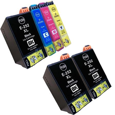 Compatible Multipack Epson 252XL Full Set + 2  EXTRA Black Ink Cartridges