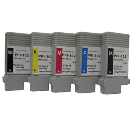PFI-102 BK/MBK/C/M/Y Full Set + 2 EXTRA Black Remanufactured Inks