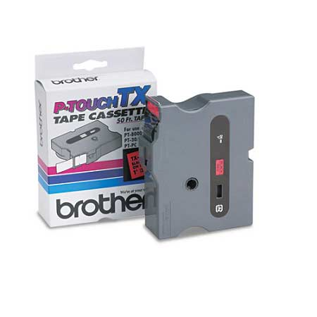 Brother TX4511 Original P-Touch Label Tape - 1 x 50 ft (24mm x 15m) Black on Red