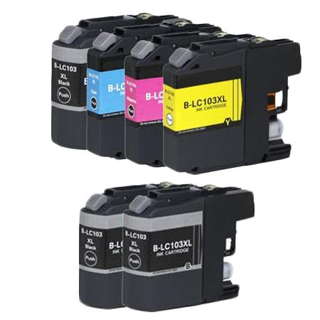 Compatible Multipack Brother LC103BK/C/M/Y Full Set +  2 EXTRA Black Ink Cartridges