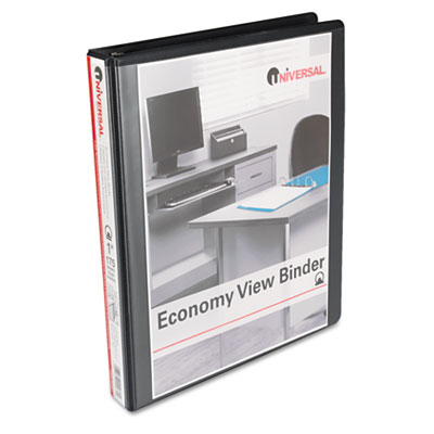 Round Ring Economy Vinyl View Binder 1Inch Capacity Black