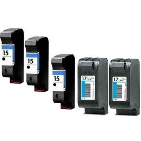 Compatible Multipack HP 15/17 2 Full set + 1 EXTRA Black Ink Cartridges