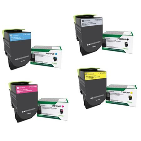Lexmark 71B10K0/C0/M0/Y0 Full Set Original Standard Yield Return Program Toner Cartridges