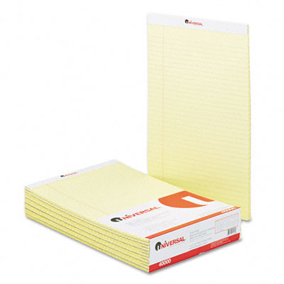 Universal Perforated Edge Writing Pad Legal/Margin Rule Legal Canary 50-Sh