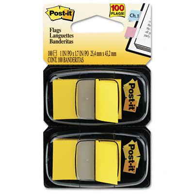 Post-it Flags Standard Tape Flags in Dispenser  Yellow  100 Flags/Dispenser