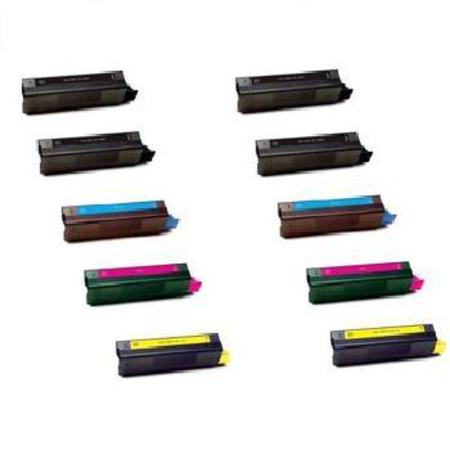 Compatible Multipack Okidata 41963001/02/03/04 2 Full Sets + 2 EXTRA Black Toner Cartridges