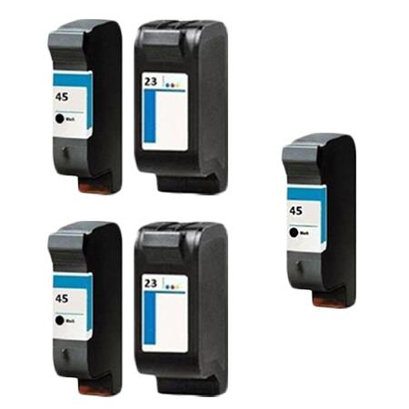 Compatible Multipack HP 45/23 2 Full set + 1 EXTRA Black Ink Cartridges
