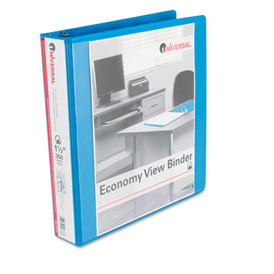 Economy D-Ring Vinyl View Binder 1Inch Capacity Light Blue