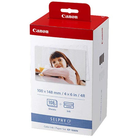 Canon KP-108IN Color Original Ink Cartridge Plus 4 X 6 Photo Paper