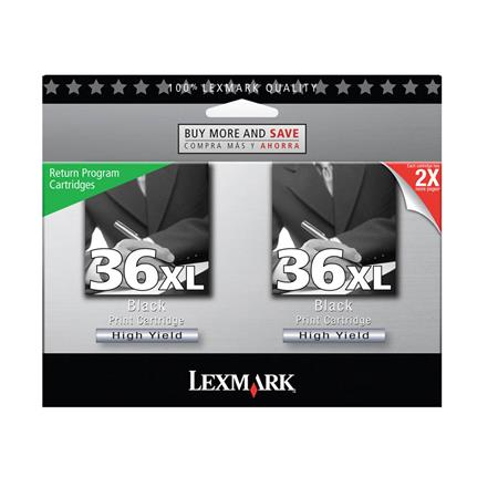 Lexmark No.36XL (18C2230) Original 2-Pack High-Yield Black Ink Cartridges