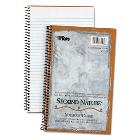 TOPS Second Nature Subject Wire Notebook College Rule 6 x 9-1/2 WE 80 Sheets