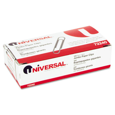 Universal Nonskid Paper Clips  Wire  Jumbo  Silver  100/Box