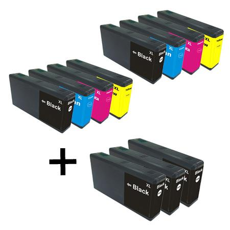 676XL 2 Full Sets + 3  EXTRA Black Remanufactured Inks