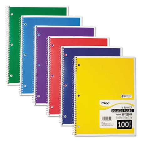 Spiral Bound Notebook  College Rule  8-1/2 x 11  White  100 Sheets/Pad