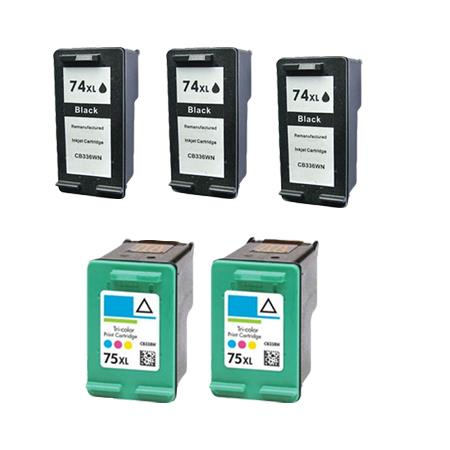 Compatible Multipack HP 74XL/75XL 2 Full Sets + 1 EXTRA Black Ink Cartridges