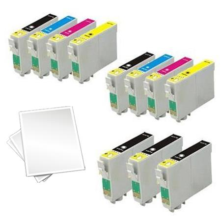 T0601/604 2 Full set + 3 EXTRA Black Remanufactured Inks and Free Paper