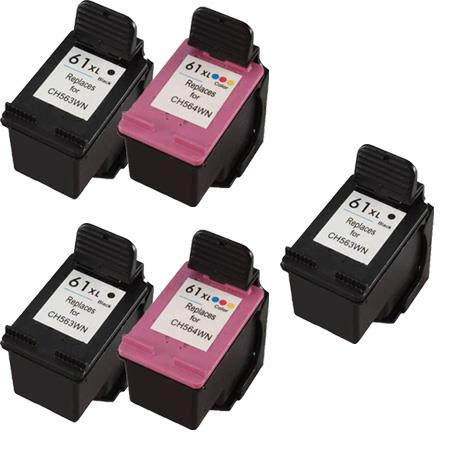 Clickinks 61XL 2 Full set + 1 EXTRA Black Remanufactured Inks