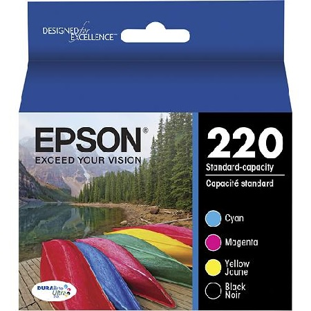 Epson DURABrite Ultra 220 Black and Color C/M/Y Ink Cartridges - 4 Pack (T220120-BCS)
