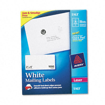 Avery Shipping Labels with TrueBlock Technology  2 x 4  White  1000/Box