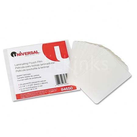 Clear Laminating Pouches 5 mil 2-1/8 x 3-3/8 Business Card Style 25/Pack