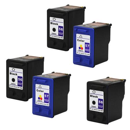 Compatible Multipack HP 56/57 2 Full set + 1 EXTRA Black Ink Cartridges