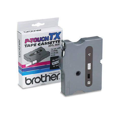 Brother TX2111 Original P-Touch Label Tape - 1/4 x 50 ft (6mm x 15m) Black on White