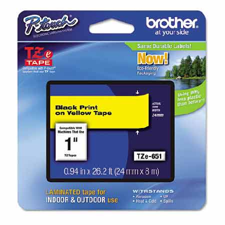 Brother TZe651 Original P-Touch Label Tape - 1 x 26.2 ft (24mm x 8m) Black on Yellow