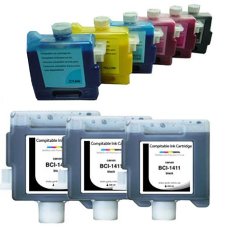 BCI-1411 BK/C/M/Y/PC/PM Full Set + 2 EXTRA Black Compatible Inks