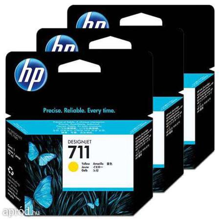 HP 711 Yellow Original Ink Cartridge - 3 Pack (3x29ml)