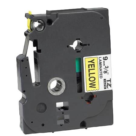 Compatible Black Brother TZe-621 P-Touch Label Tape - 3/8in x 26ft (9mm x 8m) Black on Yellow