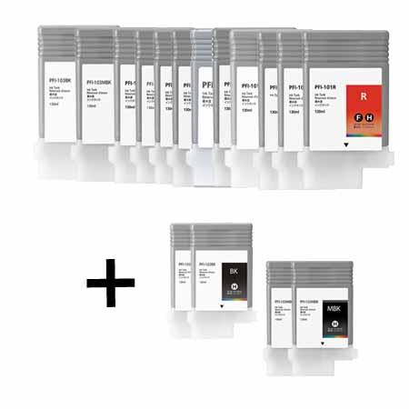 PFI-103 Full Set + 4 EXTRA Black Remanufactured Inks