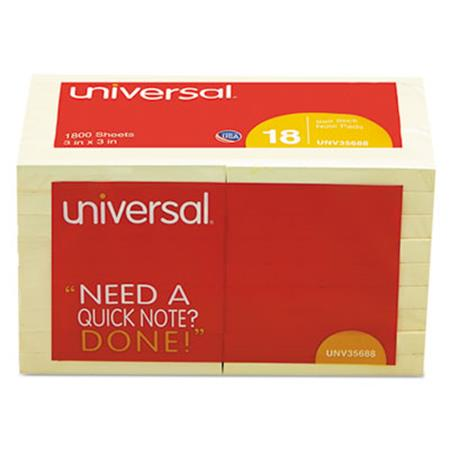 Universal Standard Self-Stick Notes  3 x 3  Yellow  18 100-Sheet Pads/Pack