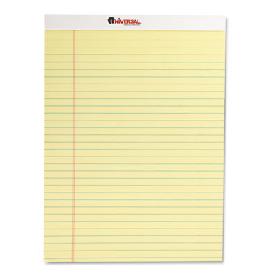 Universal Perforated Edge Writing Pad  Legal/Margin Rule  Letter  Canary  50-Sheet  Dozen