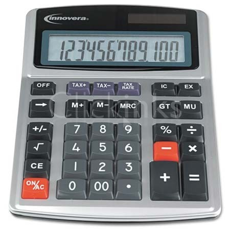 15971 Large Digit Commercial Calculator 12-Digit LCD Dual Power Silver
