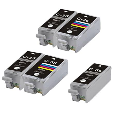 PGI-35/CLI-36 2 Full Sets + 1 EXTRA Black Remanufactured Ink