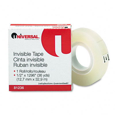 Universal Invisible Tape  1/2Inch x 1296Inch  1Inch Core  Clear