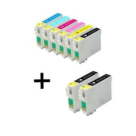 T0481/826 Full Set + 2 EXTRA Black Remanufactured Inks