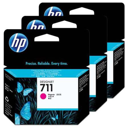 HP 711 Magenta Original Ink Cartridge - 3 Pack (3x29ml)